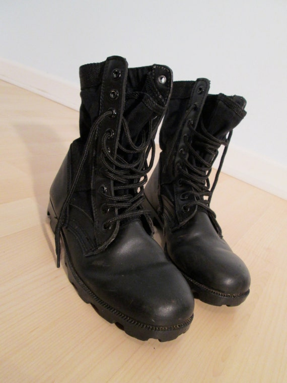 combat boots womens 7 black leather boho by