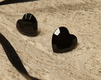 Black Heart Earrings - Post/Pierced - vintage Swarovski jet black glass hearts