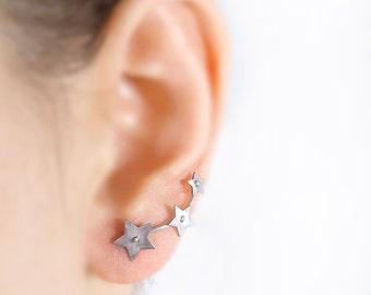 Star ear crawler, star earring, ear climber, silver ear crawler, star jewelry, constellation, kawaii, titanium earring, hypoallergenic