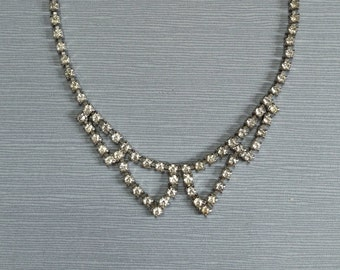 Vintage Clear Rhinestone Collar Necklace
