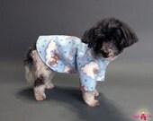 Light Blue Fleece Dog Sweater with Sleepy Teddy Bears Design