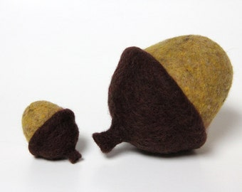"2 Needle Felted Acorns Solid Wool Yellow Brown Woodland Decor Home Gift Large 2"" & 4"""