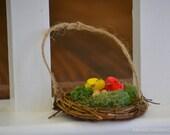 Bird's nest ornament-Sweet little grapevine bird's nest with natural moss