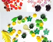 Vintage Plastic Flowers and Shapes for Jewelry Making and Milinery