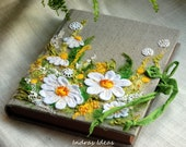 "Wedding guest book Embroidered Personalized guest book Textile art  Journal size - 21 cm x 17 cm ( 8.3"" x 6.7"") - Indrasideas"