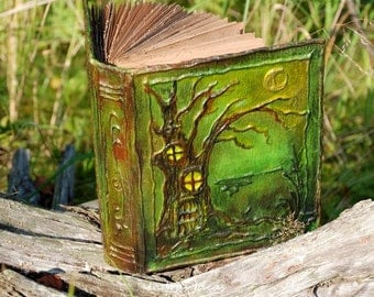 Fairy tale forest book  Fantasy diary  Fantasy Book  green journa  book  woodland scrapbook