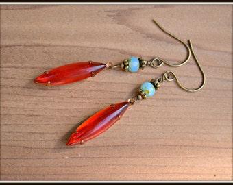 Siam Ruby Earrings vintage glass bead earrings handmade gift
