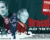 "Christopher Lee & Peter Cushing   Dracula AD 1972   Hammer - 17 x 11"" Digital Print"