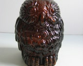 Vintage Brown Glass OWL bank.  Vintage 1970.  Mod Kitsch.  Wise old owl. - TheGrooveVintage