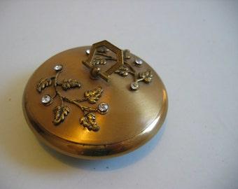 Gold tone Dresser Box, Jewelry, Trinket Holder.  Rhinestones.  Hollywood Regency, Mid century modern, Eames era. Vintage 1960.