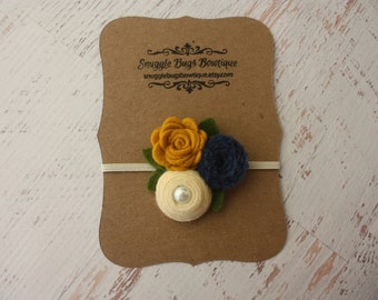 Mixed Felt Flower Bouquet in Denim, Cream and Mustard - Fall Flower Headband - Photo Prop - SBB Original
