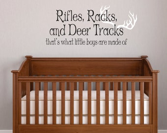 Rifles, Racks, Deer Tracks Boys Hunting Wall Decals   Little Boys Are Made  Of