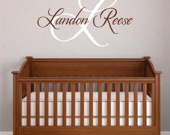 Baby Boy Nursery Wall Decal - Monogram Name Vinyl Lettering Childrens Wall Decal - Nursery Decal