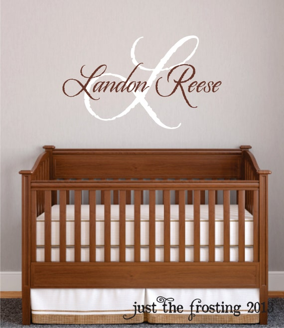 Name Wall Decals For Nursery Tags: Baby Boy Nursery Wall Decal Monogram Name Vinyl Lettering
