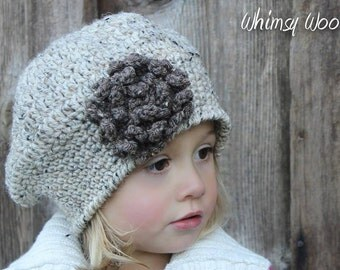 Beret CROCHET HAT PATTERN: 'Sofia Belle Beret with Crochet Flower', Winter Fashion