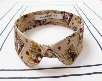 Round tip detachable collar, beige stamps print cotton collar necklace