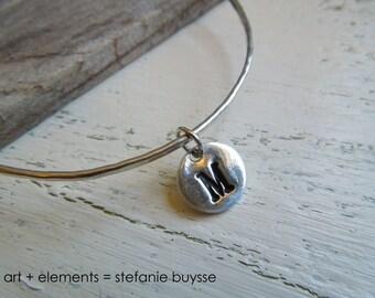 Handmade Inital Bangle Sterling Silver