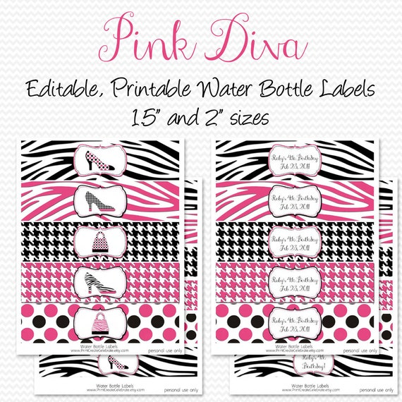 Water bottle labels pink diva zebra print party decorations for Animal print decoration party