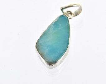 Luxury Sterling Silver Gemstone Pendant, Asymmetrical BLUE LARIMAR, custom bezel set pms0367