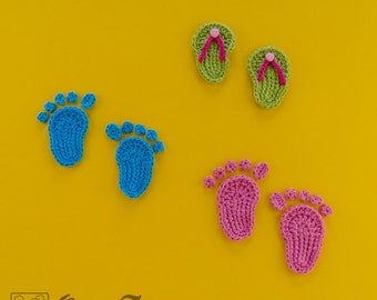 Instant Download - New PDF Crochet Pattern - Baby Footprints and Flip Flops Applique - Text instructions and SYMBOL Chart instructions