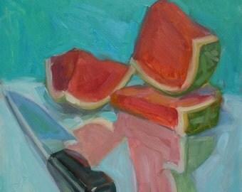 "New Still Life ""Sliced"" Watermelon 12"" x 12"" Oil on panel"