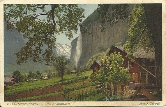 Vintage Postcard 1M Lauterbrunnental Der Staubbach - Photograph by J. Gaberell - Scenic Mountain Valley Water Fall - 1920s