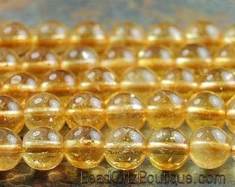 Citrine 6mm round smooth yellow jewelry beads -7.5 inch strand