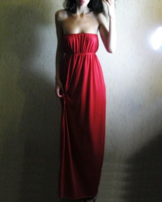 awake - beautiful red organic bamboo cotton strapless hippie boho maxi dress sundress xs small