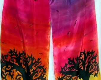 rainbow tree silk scarf, spiritual gift, Tree scarf, rainbow scarf, spiritual, prayer scarf, metaphysical, meditation, Tree of life