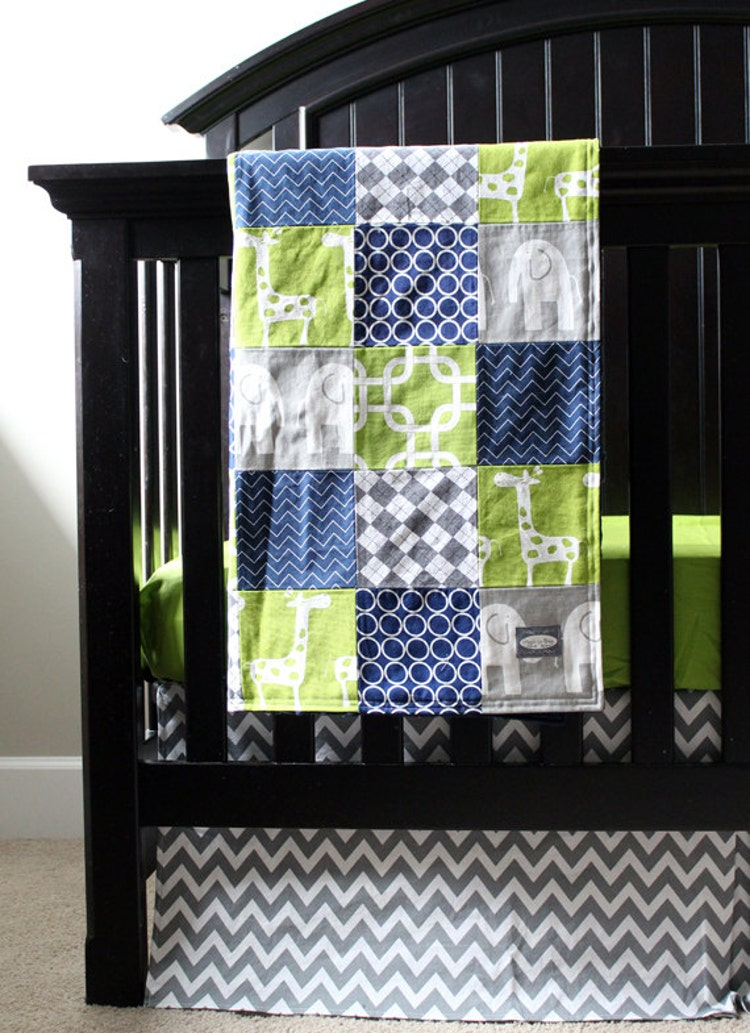 Custom crib bedding green navy blue and grey by gigglesixbaby - Navy blue and green bedding ...