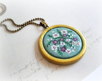 Blue wildflowers necklace - clay botanical medallion slate blue teal turquoise miniature flower painting original artwork fall jewelry