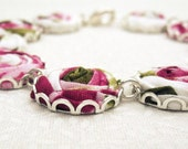 Enchanted Forest Bracelet - Fabric Roses in Raspberry Pink, Cerise, Moss Green & White - Floral Bracelet