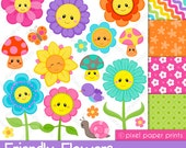 Friendly Flowers - Digital paper and clip art set - Flower clipart