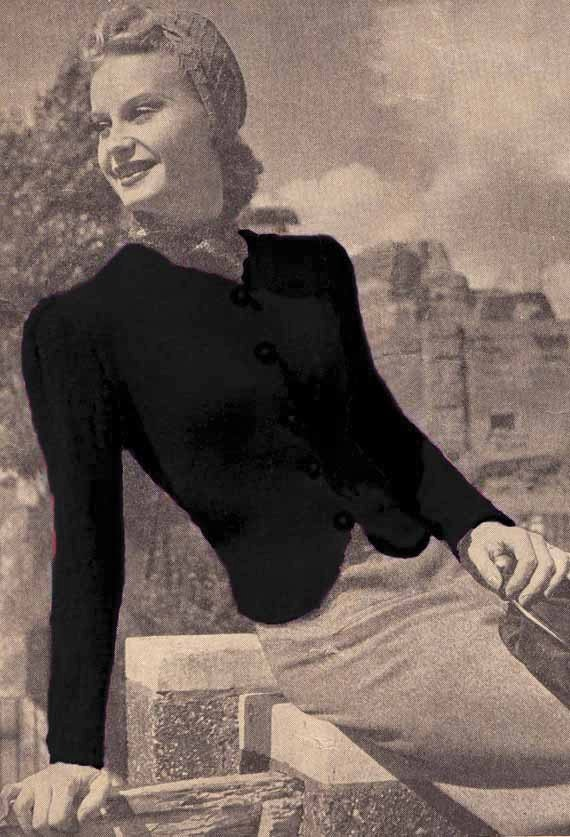 VINTAGE 1940s KNITTING PATTERN - Woman's Fitted Jacket/Cardigan -Instant Download Pdf Pattern from GrannyTakesATrip 0094