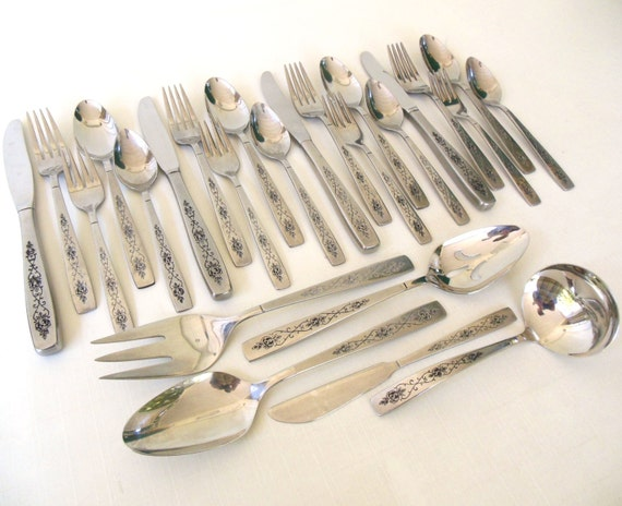 Stainless Silverware Set International Decorator Rose Lace Complete Service for 4 w/ Serving Pieces