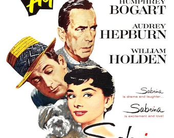 "Audrey Hepburn - Sabrina - Romantic Comedy Movie Poster Print - Home Theater Decor  - 13""x19"" or 24""x36"" - Humphrey Bogart - William Holden"