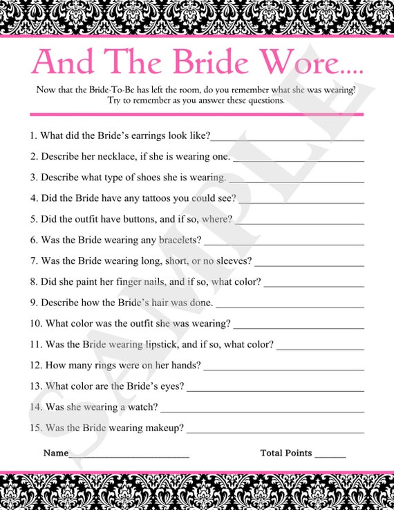 Items similar to instant download printable and the for Non traditional bridal shower games