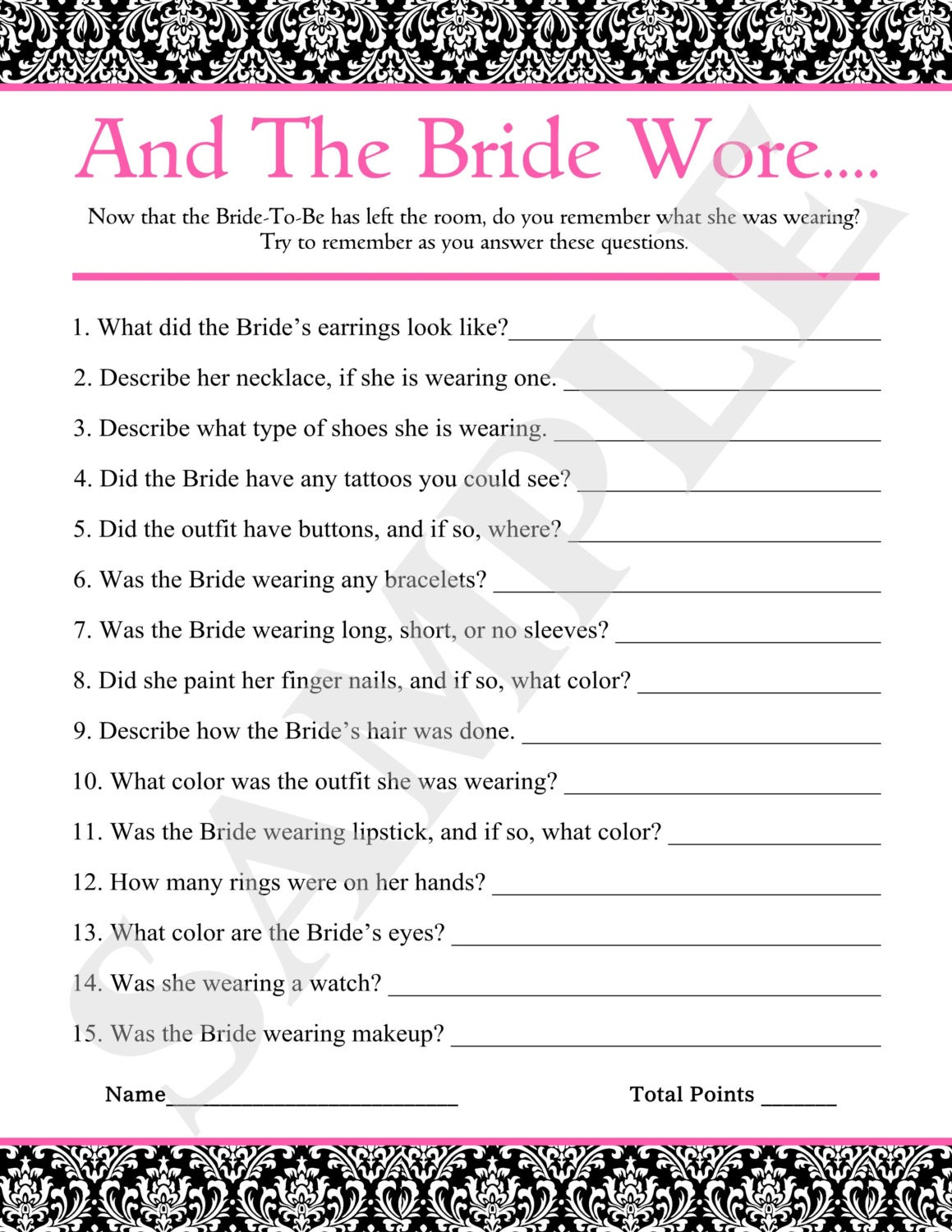 And the Bride wore... Printable Cards Bridal Shower Game ...