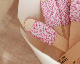 9m of Hot Pink and White Bakers Twine