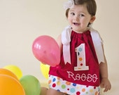 Personalized Red/Dot Birthday Dress with Applique Number