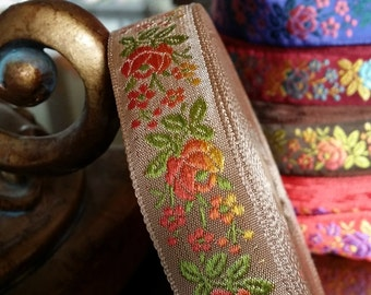 "3/4"" Vintage FrenchTaupe woven ribbon trim with embroidered red/orange sunset ombre florals  #500-07"