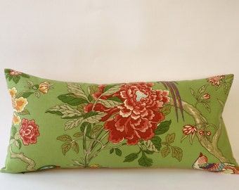Vintage Decorative Pillow Cover -Vintage Pindler and Pindler Print with a Solid Cream Backing- Invisible Zipper Closure