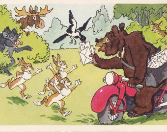 Postcard Illustration by Bazhenov (Mail from the zoo) - 1969, Soviet Artist
