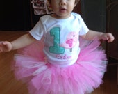 Personalized 1st birthday bird bodysuit, pink and sparkly white tutu, and matching hair bow