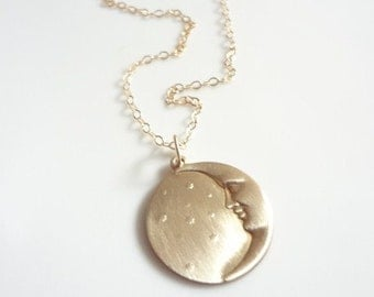 Sun and Moon Necklace, Gold FIlled Chain, Round, Charm, Pendant, Bridesmaids, Weddings, Handmade Jewelry