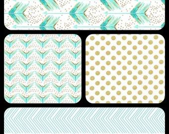 Crib Bedding Set - 4 Piece Set - Crib Bumper, Fitted Crib Sheet, Crib Skirt, Blanket - Aqua, Mint, Gold Arrow Bedding Set