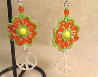 Flower Power Peace Earrings