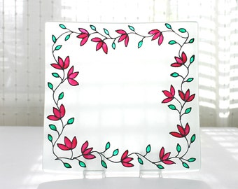 """Hand Painted Square Glass Plate, Pink Tulips Design, Glass Home Decor, 6 x 6"""", Floral Glass Plate, Painted Glass Dish, Ready to dispach"""