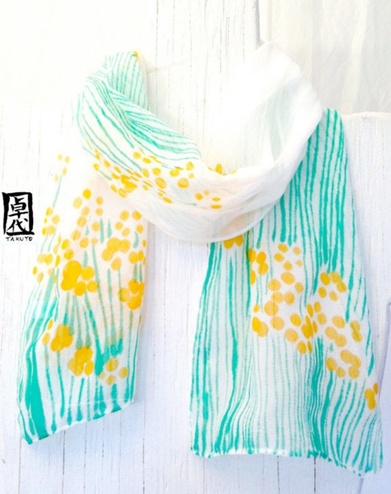 Hand Painted Silk Scarf, ETSY, Small Scarf Floral Summer, Yellow and Green Petite Yellow Sumi Wildflowers Scarf, 8x54 inches, Made to order.