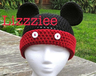 Pattern Mickey Mouse Crochet Beanie PDF Pattern - fun for Disneyland Disneyworld - beanie, earflap, braids - Instant Digital Download